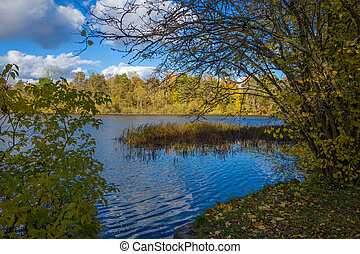 Autumn in Sweden - Autumn at Motala Stream in Norrkoping,...
