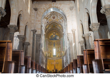 Cathedral Basilica of Cefalu, Sicily. Italy. - Christ...