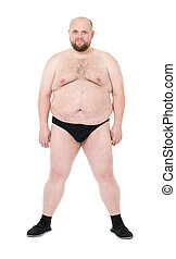 Naked Overweight Man with Big Belly front view, on white...