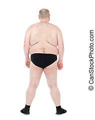 Naked Overweight Man with Big Belly Back View, on white...