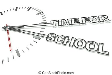 Clock with words Time for school, concept of learning