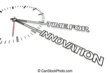 Clock with words Time for change, concept of innovation