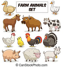 Cartoon farm animals set vector - Cartoon fanny farm animals...