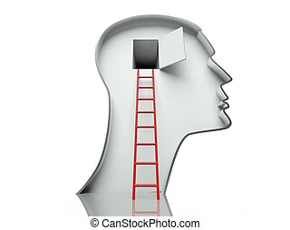 Open door in head and ladder, concept of open mind - Open...