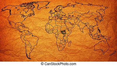south sudan territory on world map - south sudan flag on old...
