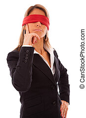 blindfold businesswoman thinking - businesswoman with a red...