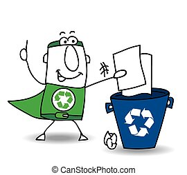 Recycling paper - Recycle-Man the superhero recycles paper...