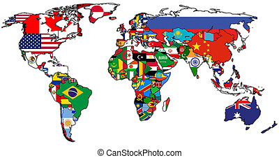 actual world map - flags on isolated over white world map...