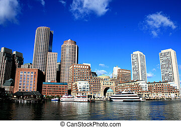 Boston - Downtown skyline along Boston Harbor