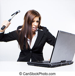 computer hacker attack - angry business woman about to...