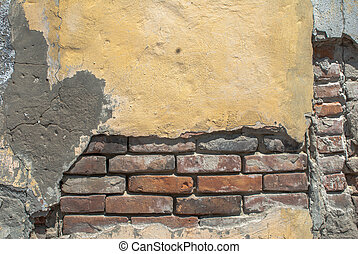 old brick wall texture background - fragment of a concrete...