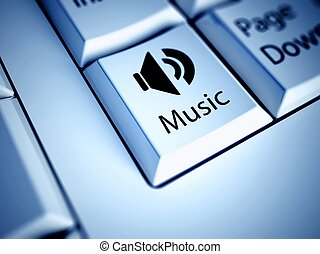 Keyboard and blue Music button, entertainment concept