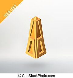 Abstract vector logo. Golden cupola tapering to the top. -...