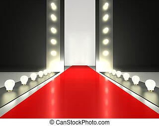 Empty red carpet, fashion runway illuminated by glowing...