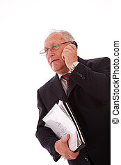 Senior businessman call - senior businessman talking on his...