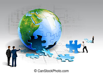 Business planing - businessmen putting puzzles together