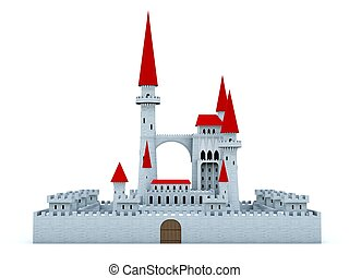 Castle with red roof isolated on white