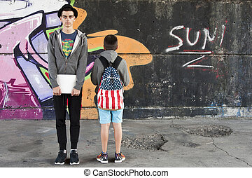 young students in the city