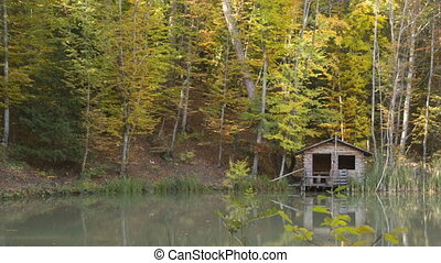 timbered lodge on the lake - a log cabin for the fishermen...