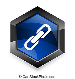 link blue hexagon 3d modern design icon on white background