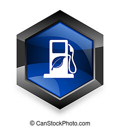 biofuel blue hexagon 3d modern design icon on white...