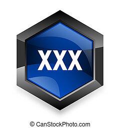 xxx blue hexagon 3d modern design icon on white background