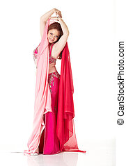 Adult Belly Dancer - Lithe adult caucasian belly dancer with...