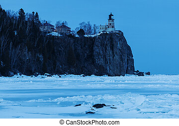 Split Rock Lighthouse at dusk. Two Harbors, Minnesota, USA