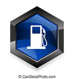 petrol blue hexagon 3d modern design icon on white...