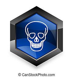 skull blue hexagon 3d modern design icon on white background