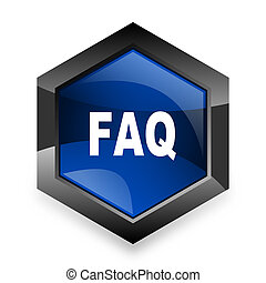 faq blue hexagon 3d modern design icon on white background