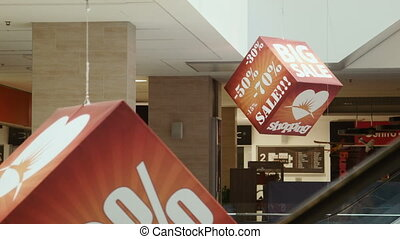 Sale sign on the cube - Advertising cubes in a shopping...