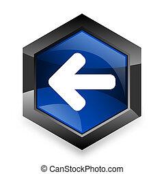 青, 六角形, 背景, 現代, 3D, デザイン, 矢, 白, 左, アイコン