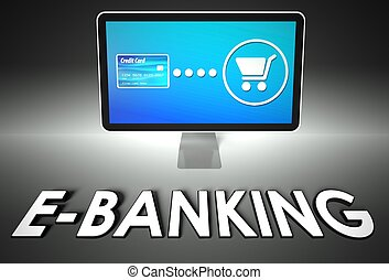 Screen and buying with word E-banking, E-commerce