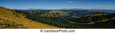 Panorama from Mount Evans Road - Panorama looking down from...