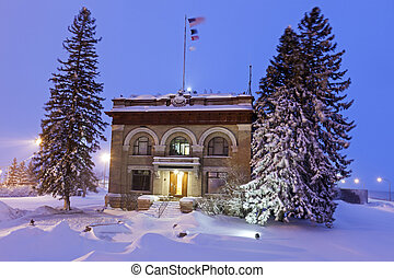 Old architecture of Duluth during snow storm. Duluth,...