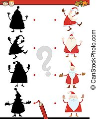shadow task with santa claus - Cartoon Illustration of...