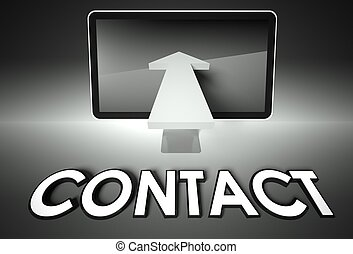 Screen and arrow with word Contact, Connection