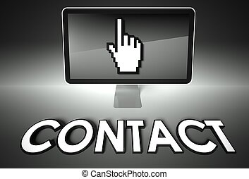 Screen and hand icon with Contact, Connection