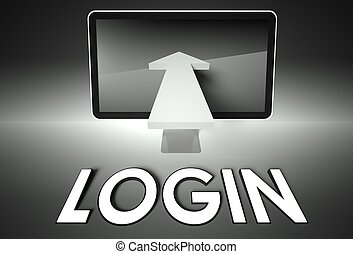 Screen and arrow with word Login, Security