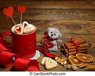 Holiday teddy bears hugging by Christmas decorations by...
