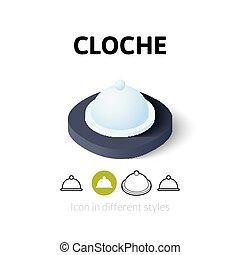 Cloche icon in different style - Cloche icon, vector symbol...