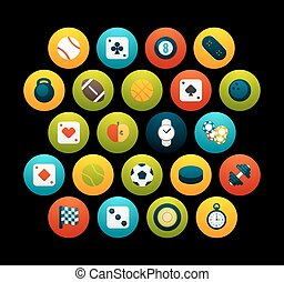 Flat icons set 12 - sport and game collection, for phone...
