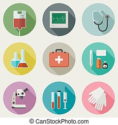 Medical icons set - Medicine icons set with medical...