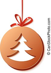 Cristmas chocolate ball with tree inside and red ribbon