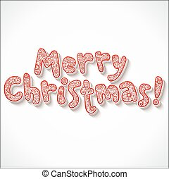 Hand lettering ornate Merry Christmas sign on white...