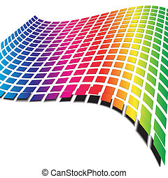Retro pattern with rainbow colors forming a wave for...