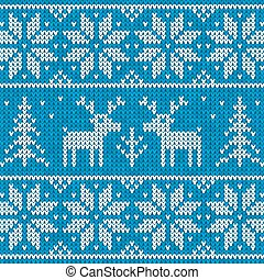 White and blue sweater with deer vector ornament - White and...