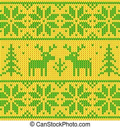 Green and yellow sweater with deer ornament - Green and...