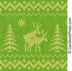 Sweater with deer - Green sweater with deer seamless pattern...
